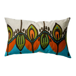 "KOKO - Coptic Pillow, Blue/Orange, 15"" x 27"" - The vibrant colors and design of this pillow will have you dreaming of an island getaway. It would make a great statement on a sofa or side chair. And the embroidery and applique detail add beautiful texture."