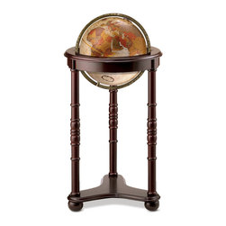 "Replogle - Lancaster World Globe - Lancaster floor world globe is the definition of a Family Heirloom. Classic in design, this traditional chair side floor world globe is complemented by the dark cherry finish and decorative carved accents of its floor stand. The rich copper hues of the 12"" diameter bronze metallic globe are enhanced by the  metal die-cast meridian. The full-swing brass-plated meridian (ring supporting the globe) allows the ball to be turned 360° for convenient view of all points of interest from any possible angle. The globe revolves within the meridian, and the meridian swings within the stand."