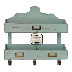 Enchante Accessories Inc - Distressed Rustic Solid Wood Vintage 2 Tier Wall Shelf , Teal - Rustic and distressed to give it that gently worn in look, the vintage 2 tier wall shelf with hooks. Features durable solid wood construction, a scalloped top, and durable metal accents.  Perfect for use on any wall in any room, this pine wood shelf includes the knots, nicks, and nail holes that you would expect to see in an old piece of wood and has distressed edges that allow the natural wood color to peek through the painted finish.