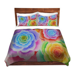 DiaNoche Designs - Duvet Cover Microfiber by Jennifer Baird - Joyous Flowers I - Super lightweight and extremely soft Premium Microfiber Duvet Cover in sizes Twin, Queen, King.  This duvet is designed to wash upon arrival for maximum softness.   Each duvet starts by looming the fabric and cutting to the size ordered.  The Image is printed and your Duvet Cover is meticulously sewn together with ties in each corner and a hidden zip closure.  All in the USA!!  Poly top with a Cotton Poly underside.  Dye Sublimation printing permanently adheres the ink to the material for long life and durability. Printed top, cream colored bottom, Machine Washable, Product may vary slightly from image.