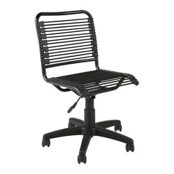 Euro Style - Bungie Low Back Black/ Graphite Black Office Chair - Add style and interest to any office space with this contemporary black office chair. It features a pneumatic adjuster so you always sit at a height that is comfortable. The five casters wont scratch floors and make it easy to move around the room.