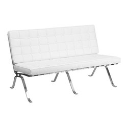 Flash Furniture - Flash Furniture Reception Furniture Reception Grouping - Loveseat - Add a vintage contemporary flair to your waiting area or office. The Flash Series Reception furniture will adorn any office or waiting room setting with the button tufted cushions and designer legs. [ZB-FLASH-801-LS-WHITE-GG]