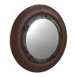 Rustic Nautical Porthole Mirror Burgundy 20 In. - This rustic porthole mirror is a great accent that complements nautical themed decor. The outer frame is wooden and measures 20 inches in diameter, and the mirrored glass measures 12 inches in diameter. A decorative metal ring with bolts gives the mirror an antique look, along with a wonderful distressed finish. It easily mounts to the wall with a single nail or screw by the hanger on the back. This piece looks great in hallways, bedrooms, or bathrooms, and it is also a great accent in bars or restaurants.