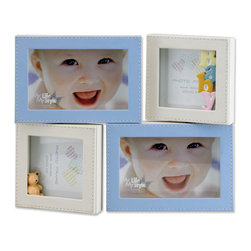 Lawrence Frames - 4x6 and 4x4 Multi Opening Blue Leatherette Picture Frame - Adorable four-opening blue and ivory baby frame.  Holds two 4x6 horizontal photos and two 4x4 photos.  The fronts of all frames are covered with beautifully stitched pastel leatherette.