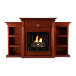"""Holly & Martin - Holly & Martin Fredricksburg Gel Fireplace w/ Bookcases, Mahogany, 70.25""""w X 14"""" - For the person who loves to curl up with a good book by the fire, this classic mahogany fireplace accommodates perfectly. On each side there is a bookshelf to display your favorite classic books. The mantel itself is adorned with tall slender fluted columns on either side of the firebox, traditional crown molding, and a symmetrical medallion applique. Portability and ease of assembly are just two of the reasons why our fireplace mantels are perfect for your home. Requiring no electrician or contractor for installation allows instant remodeling without the usual mess or expense. In addition to your living room or bedroom, try moving this fireplace to your dining room for romantic dinners or complement your media room with a ventless fireplace below your flat screen television. * Use this great functional fireplace to make your home a more welcoming environment."""