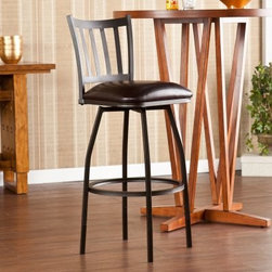 Southern Enterprises Oaklyn Adjustable Bar Stool - The sloped legs and slatted back give the transitional Southern Enterprises Oaklyn Adjustable Bar Stool a simple clean and elegant look. Expertly crafted with a strong steel frame this stool features a rich powder coated hammered bronze finish and an accenting luxurious vinyl-covered foam seat in a beautiful dark brown. Its curved backrest provides optimal support while the footrest gives you a comfortable place to rest your feet. You'll be able to stay engaged in several conversations at once with the convenient 360 degree swivel design. Some assembly is required. Dimensions Seat: 15.25W x 14.75D x 24-29H in. Cushion: 3-inches thick Backrest: 15W x 14.25H inches in. Footrest: 7.5-11.5H in. Weight capacity: 250 lb. Overall: 17W x 19.5D x 36.25-41H in. About SEI (Southern Enterprises Inc.)This item is manufactured by Southern Enterprises or SEI. Southern Enterprises is a wholesale furniture accessory import company based in Dallas Texas. Founded in 1976 SEI offers innovative designs exceptional customer service and fast shipping from its main Dallas location. It provides quality products ranging from dinettes to home office and more. SEI is constantly evolving processes to ensure that you receive top-quality furniture with easy-to-follow instruction sheets. SEI stands behind its products and service with utmost confidence.