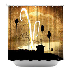 DiaNoche Designs - Shower Curtain Artistic - V Beach - DiaNoche Designs works with artists from around the world to bring unique, artistic products to decorate all aspects of your home.  Our designer Shower Curtains will be the talk of every guest to visit your bathroom!  Our Shower Curtains have Sewn reinforced holes for curtain rings, Shower Curtain Rings Not Included.  Dye Sublimation printing adheres the ink to the material for long life and durability. Machine Wash upon arrival for maximum softness. Made in USA.  Shower Curtain Rings Not Included.