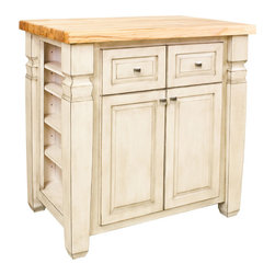 "Inviting Home - Boston Kitchen Island Cabinet (antique white) - Boston kitchen island cabinet in antique white finish; 34"" x 22"" x 34-1/4""; 1-3/4"" hard maple Boston butcher block top sold separately; This furniture style kitchen island with adjustable shelves on both ends is manufactured using the highest quality furniture grade hardwoods and MDF. The kitchen island features two deep working drawers and large cabinet with adjustable shelf on one side and blank panel on the reverse. Drawers are dovetail solid hardwood and are mounted on undercount full extension soft close slides and the cabinet features integrated soft close hinges. Decorative hardware is included with this item. French white finish is applied by hand. Hard maple edge grain Boston butcher block top sold separately."