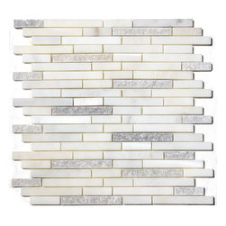 Arabescato Carrara Duo Interlocking 12X12 Marble Mosaic - Arabescato Carrara Duo Polished and Splitface Pattern mosaic tiles are backed by mesh and feature the whites and grays of class Cararra with stunning charisma. Projects recommended for these beautiful tiles include flooring and walls.   Also known as Grecian White, Chinese White, Statuary White