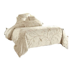 Crewel Fabric World - Crewel Bedding Belle Vigne Off White Cotton Duck Duvet Cover Queen - Inspiration: Each piece in this soft Jacobean floral bedding set is individually cut, then intricately hand embroidered, so the design runs edge to edge in the tradition of heirloom quality crewelwork. Duvet cover features the entire design and is hand sewn of cotton with wool embroidery. Belle Vigne Duvet feature: Dry clean Imported.