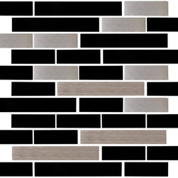 "Susan Jablon Mosaics - Black Glass Tile And Stainless Steel Tile Mix - This glass tile mix of 1"" x 3"", 1"" x 6"" Black glossy linear glass tiles paired with stainless steel subway tiles. This statement pairs brilliantly with your light toned or black toned counter top. Easy to care for! This blend features black and stainless steel in 1x3 and 1x6 tiles.It is very easy to install as it comes by the square foot on mesh and it is very easy to clean! About a decade ago, Susan Jablon re-ignited her life-long passion for mosaics and has built a customer-focused, artist-driven, business offering you the very best in glass and decorative tiles and mosaics. We are a glass tile store committed to excellence both personally and professionally. With lines of 100% SCS Qualified recycled tile, 12 colors and 6 shapes of mirror, semi precious turquoise stones from Arizona mines, to color changing dichroic glass. Stainless steel tiles in 8mm and 4mm and 12 designs within each, and anything you can dream of. Please note that the images shown are actual photographs of the tiles however, colors may vary due to the calibration of each individual monitor. Ordering samples of the tiles to verify color is strongly recommended."