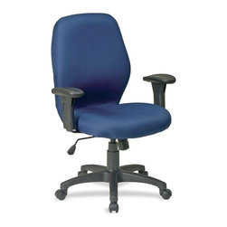 Lorell - Lorell High Performance Ergonomic Chair with Arms - Blue Seat - High-performance ergonomic chair with contoured seat and back includes built-in lumbar support for optimum support. Functions include pneumatic seat-height adjustment, 360-degree swivel, and 2 to 1 synchro tilt control with adjustable tension and tilt lock. Mid-back chair also offers padded adjustable arms and heavy-duty nylon base with dual-wheel carpet casters. Weight capacity is 225 lb. Chair meets or exceeds applicable ANSI/BIFMA standards.