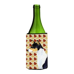 Caroline's Treasures - Basenji Fall Leaves Portrait Wine Bottle Koozie Hugger SS4342LITERK - Basenji Fall Leaves Portrait Wine Bottle Koozie Hugger SS4342LITERK Fits 750 ml. wine or other beverage bottles. Fits 24 oz. cans or pint bottles. Great collapsible koozie for large cans of beer, Energy Drinks or large Iced Tea beverages. Great to keep track of your beverage and add a bit of flair to a gathering. Wash the hugger in your washing machine. Design will not come off.