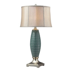 Dimond - Dimond D2272 Cumberland Transitional Ceramic Table Lamp - Cumberland Ceramic Table Lamp In A Turquoise Glaze And Silver Leaf Finish. The Shade Is A Light Gray Faux Silk With A Cream Liner.