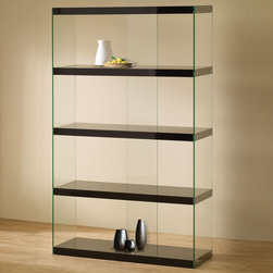 Coaster - 800305 Display Cabinet - Black - Create the illusion of floating shelves with this contemporary display cabinet. Finished in a high gloss black with tempered glass shelves.
