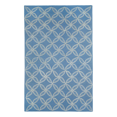 Tanjib rug in Ink - A rope graphic embroidered design of circles and diamonds echoes pierced screens popular in Indian architecture. This motif is often used as a pattern on intricate Indian chintzes. 95% Wool, 5% Silk - Flat woven in India.