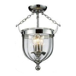 Three Light Chrome Clear Glass Foyer Hall Semi-Flush Mount - For a traditional yet versatile look, this semi-flush would be perfect for adding elegance to any space. The sculpted circular glass shades are suspended from a circular mount, finished in chrome. Inside the shade are suspended candelabra lights, adding the finishing touch on an elegant fixture.