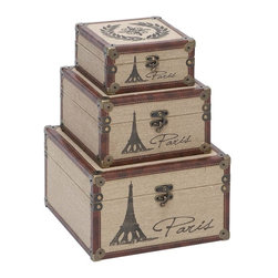 Aspire - Eiffel Tower Burlap Trunks - Set of 3 - These boxes will add a fun and elegant touch to your decor. The brown faux leather trim provides a nice contrast with the tan burlap-covered body. Paris script and the Eiffel tower decorate the fronts of each trunk. Antique brass hardware completes the design. Wood and burlap. Color/Finish: Brown, tan. Paris script. 7.5 in. H x 12 in. W x 12 in. D. 6 in. H x 10 in. W x 10 in. D. 4 in. H x 8 in. W x 8 in. D. Weight: 20 lbs.