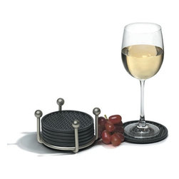 Spectrum Diversified Designs - Pantry Works Coaster Set - Satin Nickel - From the Pantry Works Collection. Protect your surfaces from scratches and watermarks with the satin chrome Pantry Works Coaster Set. The steel caddy neatly stores six flexible round coasters. Wine glass not included.