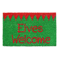 Entryways - Elves Welcome Non-Slip Coconut Fiber Doormat - This beautifully designed doormat will enhance your entry way or patio. It's made from the highest quality all natural coconut fiber with a PVC non slip backing.
