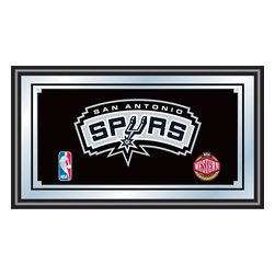 Trademark Global - San Antonio Spurs NBA Framed Logo Mirror - Officially Licensed Full Color Artwork. Mirrored Glass Accents Team Logo. 1.25 Inch Black Wrapped Wood Frame. Includes Mounted Saw Tooth Hanger. Measures .75 (D) x 27 (W) x 15 (H) InchesReflect on the favorite memories of your favorite team with this officially licensed framed logo mirror. Authentic artwork is preserved under mirrored glass then bound by a black wrapped wood frame.  Post up your passion for the game while assisting your room's appearance with this professional grade logo mirror.
