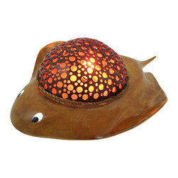 Zeckos - Natural Coconut Shell Stingray Accent Lamp Night Light - This beautiful hand carved stingray shaped accent lamp is made from wood and hemp rope, with a drilled out real coconut shell acting as the body and lampshade. The coconut shell has hundreds of holes drilled into it to provide you with just the right accent lighting. It has a 6 foot long power cord, with a toggle on/off switch, and uses nightlight style bulbs (one is included). The lamp measures 4 3/4 inches tall, 13 1/2 inches long and 9 1/2 inches wide.