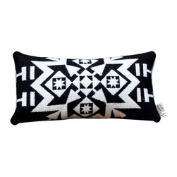 Scout & Whistle - Snowflake Black Pillow - Imagine curling up on this wintery wool pillow with a mug of hot cocoa on a snowy day. Perfection!
