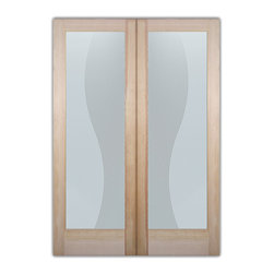 "Sans Soucie Art Glass (door frame material T.M. Cobb) - Interior Glass Doors Sans Soucie Art Glass Divise Stripes Private Pair - Sans Soucie Art Glass Interior Door with Sandblast Etched Glass Design. GET THE PRIVACY YOU NEED WITHOUT BLOCKING LIGHT, thru beautiful works of etched glass art by Sans Soucie!  THIS GLASS PROVIDES 100% OBSCURITY.  (Photo is View from OUTside the room.)  Door material will be unfinished, ready for paint or stain.  Satin Nickel Hinges. Available in other wood species, hinge finishes and sizes!  As book door or prehung, or even glass only!  1/8"" thick Tempered Safety Glass.  Cleaning is the same as regular clear glass. Use glass cleaner and a soft cloth."
