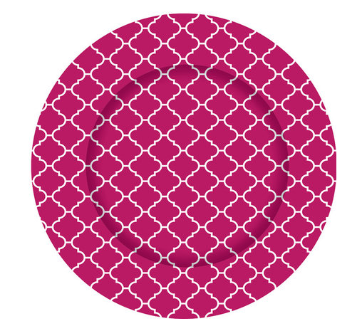 Hot Pink Moroccan Tile Charger Plates - Set of 12 - Dine in style with our graphically bold charger plates.  Easily update your table with this striking pattern and fresh color.  Our exclusive collection offers a chic and modern interpretation of a classic accessory.