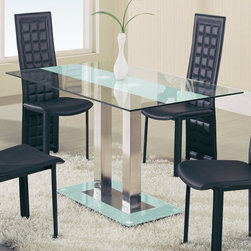 Global Furniture - Dining Table in , Frosted Stripe - This clear glass dining table with frosted stripe features chrome trim accents and painted top and bottom glass. Will make a perfect addition to your contemporary space.