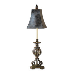 Glass and Iron Urn Buffet Table Lamp - *This delicate lamp has a seeded, clear glass that is mouth blown into a banded iron cage, finished in an antique bronze.