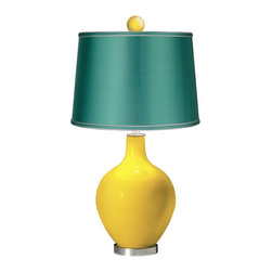 "Color Plus - Contemporary Citrus - Satin Sea Green Ovo Table Lamp with Color Finial - Bright and bold this designer color Citrus glass table lamp is a fantastic way to add a splash of color to your home decor. The design is hand-crafted by experienced artisans in our California workshops and features a matching color ball finial at the top. The look is finished off with a specially-selected sea green satin drum shade and brushed steel finish accents. Citrus designer glass table lamp. Matching color ball finial. Sea green satin drum shade. Brushed steel finish accents. From the Color + Plus™ lighting collection. Maximum 150 watt or equivalent bulb (not included). 30 1/2"" high. Shade is 14"" across the top 16"" across the bottom 11"" high. Finial is 2 1/2"" wide 3"" high. Base is 6"" wide.  Citrus designer glass table lamp.  Matching color ball finial.  Sea green satin drum shade.  Brushed steel finish accents.  From the Color + Plus™ lighting collection.  Maximum 150 watt or equivalent bulb (not included).  30 1/2"" high.  Shade is 14"" across the top 16"" across the bottom 11"" high.  Finial is 2 1/2"" wide 3"" high.  Base is 6"" wide."