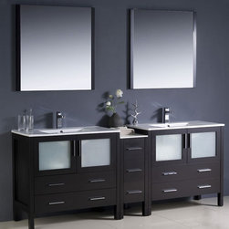 Fresca - Torino Modern Double Sink Bathroom Vanity w Undermount Sinks (Bevera Chrome) - Choose Included Faucet: Bevera ChromeP-traps, Faucets, Pop-Up Drains and Installation Hardware Included. Single Hole Faucet Mounts (Faucets Shown In Picture May No Longer Be Available So Please Check Compatible Faucet List). With overflow. Sink Color: White. Finish: Espresso. Sink Dimensions: 19 in. x12 in. x5 in. . Mirror: 31.5 in. W x 31.5 in. H x 1.25 in. D. Materials: Plywood w/ Veneer, Ceramic Sinks w/ Overflow. Vanity: 83.5 in. W x 18.13 in. D x 33.75 in. HFresca is pleased to usher in a new age of customization with the introduction of its Torino line. The frosted glass panels of the doors balance out the sleek and modern lines of Torino, making it fit perfectly in either Town or Country decor. Available in the rich finishes of Espresso, Glossy White and Light Oak, all of the vanities in the Torino line come with either a ceramic vessel bowl or the option of a sleek modern ceramic undermount sink.