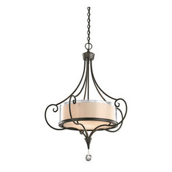 Kichler - Kichler 42864SWZ Lara 3-Bulb Indoor Pendant with Drum-Shaped Glass Shade - Product Features: