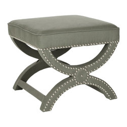 Safavieh - Safavieh Mystic Storage Ottoman X-B5464RCM - A contemporary descendant of the Savonarola chair originally named for a 15th-century Dominican cleric, our Mystic bench bears the distinctive curved X that forms its graceful legs. Upholstered in taupe gray toned linen with self-welting nickel nailhead d
