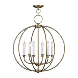 Joshua Marshal - Six-Light Up Chandelier, Antique Brass - Six Light Antique Brass Up Chandelier