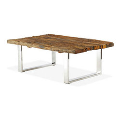 Brownstone Furniture Verona Rectangular Coffee Table - Verona takes the natural beauty of old reclaimed railroad ties and blends it with the updated look of stainless steel. The result is stylish and innovative, while celebrating the warm beauty of reclaimed lumber.
