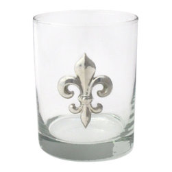 Jon Margeaux - Rocks Glasses - You may never be royals, but cocktails at your place will soon rule. A regal looking emblem of pure pewter accents each of these rocks glasses — a superior way to toast your own special style!