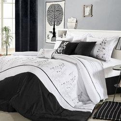 None - Poppy Flower Black and White 12-piece Bed in a Bag with Sheet Set - With this 12-piece bed in a bag, you'll have almost everything you need for a good night's sleep. This black-and-white sheet set features a beautiful embroidered design to give your bedroom a fresh look, and each piece is also machine washable.