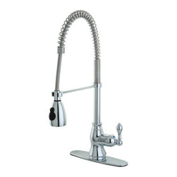 Kingston Brass - American Classic Single Handle Pull-Down Spray Kitchen Faucet, Chrome - The American Classic pull-down faucet features a gooseneck-shaped spout which hangs over the sink built for easy washing. The long coil covering part of the sprayer is connected to the neckpiece for support. The chrome-plated finish adds long-lasting protection as well as a sleek flashy-looking decor for your kitchen.