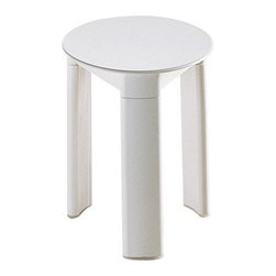 Gedy - Circular Stool Made From Thermoplastic Resins, White - If you want a bathroom stool, why not consider this high-end bathroom stool from the Gedy Trio collection? Perfect for more modern & contemporary settings, this designer bathroom stool is floor standing and coated with white, acid green, or orange.