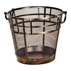 Threshold Mission Log Basket, Brushed Bronze - Warm metals are in. This rustic piece would be great next to a fire pit or in a bathroom as a wastebasket.