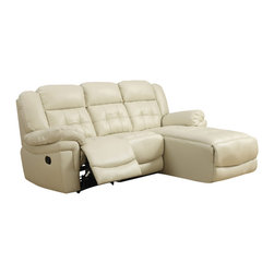 Monarch Specialties - Monarch Specialties 8186SD Reclining Sofa Lounger in Sand - Join style and comfort together. This sofa chaise is the perfect seating solution for large living room areas. Plush full foam seating, a sturdy solid wood frame and motion reclining, this sofa chaise has plenty of space as well as comfortable armrests. Buttonless tufting backs with curved seat fronts provide a timeless touch of elegance. Wrapped in a top grain bonded leather match in a beautiful rich sand. Pair this stylish sectional with a modern coffee table.