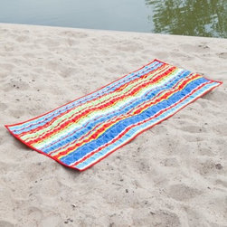 Calypso Stripe Quilted Beach Mats - So much better than a beach towel, the Calypso Stripe Quilted Fabric Beach Mats make sunning at the beach comfortable and stylish. This oversized mat features a comfy, quilted top with a colorful stripe pattern you'll love. It's made of weather-resistant polyester that's soft to the touch and when you're done for the day, simply roll this beauty up and the attached loops make it a summer's breeze to carry.