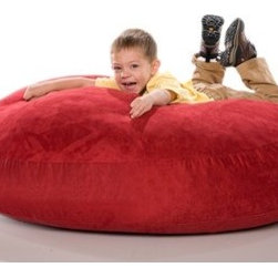 "jaxx - Jr Cocoon Bean Bag Lounger - Surround your little tykes in a round cuddle pad of comfort with Jaxx Cocoon Jr. This four foot wonder, filled with high quality shredded foam, is the perfect size for kids. Laid flat, it is a round crash pad that is perfect for playing, watching a movie, or taking a nap. Flip Jaxx Cocoon Jr. onto its side, and they are engulfed in a comfortable, kid-sized nook. Flip it up, and it's a beanbag style chair perfect for reading or watching cartoons. Fun to enjoy alone or with brothers and sisters, Jaxx Cocoon Jr. comes in six vibrant kid colors. Lush microsuede covers zip-off for easy machine washing, while an underneath nylon rip-stock liner keeps the hull of shredded urethane foam moisture proof and in-place. Features: -100% Recycled furniture grade shredded foam filling.-Removable lush microsuede cover that zip off easily for machine washing.-Childproof safety zipper.-Round cuddle pad for comfort.-Four foot foam filled crash pad is great to relax.-Made in the USA.-Collection: Jaxx Jr. Bean Bags.-Distressed: No.-Country of Manufacture: United States.-Material: Microsuede.-Fill Included: Yes -Fill Material: Urethane foam..-Removable Cover: Yes.-Product Care: Removable cover: machine wash cold, tumble dry..Dimensions: -Overall Product Weight: 21 lbs.-Overall Height - Top to Bottom: 18"".-Overall Width - Side to Side: 45"".-Overall Depth - Front to Back: 45"".Warranty: -Manufacturer provides 1 year warranty on cover and liner defects.-Product Warranty: 1 year manufacturer parts warranty."