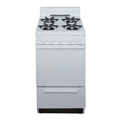 "Premier - BAK100O ADA Compliant White 20"" Cordless Battery Spark Gas Range with 2.4 Cu. Ft - The BAK100OPWhite 20 Battery Spark Gas Range from Premier is a very unique range it is great for families of all sizes and has several features It has the oven capacity of 24 cu ft four open cooktop burners and a 4 porcelain backguard In addition it ..."