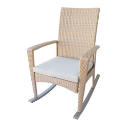 Dola - Outdoor Wicker Rockers, Patio Rocking Chairs in Honey Almond Wicker, Light Beige - Bring back a touch of nostalgia with this classic rocking chair with a modern twist.