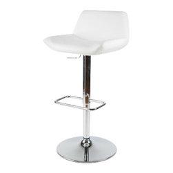 Whiteline Imports - Whiteline Imports Maya Bar Stool in White Leatherette - Bar stool in white leatherette belongs to Maya collection by Whiteline