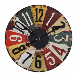 Grace Feyock - Grace Feyock Vintage License Plates Wall Clock X-57660 - This colorful clock face consists of vintage pictures of old license plates with rustic bronze details. Quartz movement.