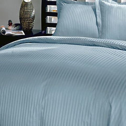 Blue Ridge Home Fashions - Light Blue Damask Stripe 250-Thread Count Duvet Cover Set - Add this elegant and incredibly soft duvet cover to any bed to make counting sheep a thing of the past. Whether updating the master bedroom or guestroom, this piece of bedding is sure to warm up décor.   Includes duvet cover and two shams (twin sizes include one sham) 100% cotton 250-thread count Machine wash Imported